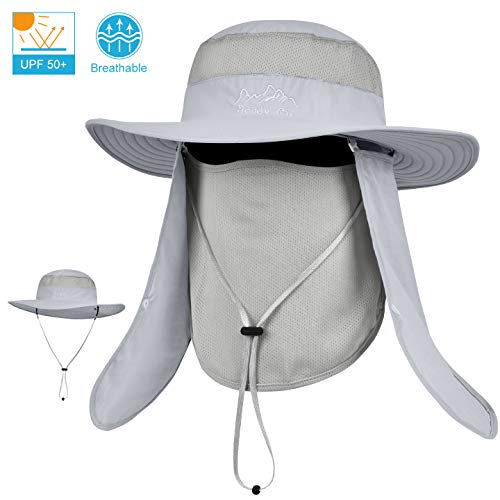 LCZTN UPF 50+ Sun Protection Cap Wide Brim Fishing Hat with Face & Neck Flap Light Gray