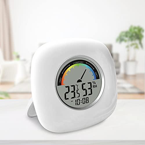 Protmex Hygrometer Innen, Thermometer Thermo-Hygrometer mit Hhen Genauigkeit, Thermometer & Luftfeuchtigkeitsmesser, Hydrometer mit Komfortanzeige, Uhr 12/24h & ℃ / ℉ Funktion