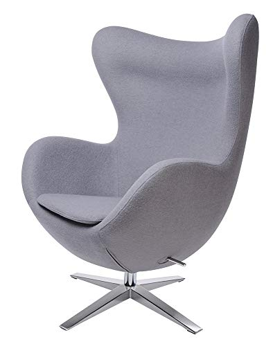 furnigo | Designer Sessel in Ei Form, Reproduktion, Zeitlos, Viele Farben, Wollstoff (Grau)