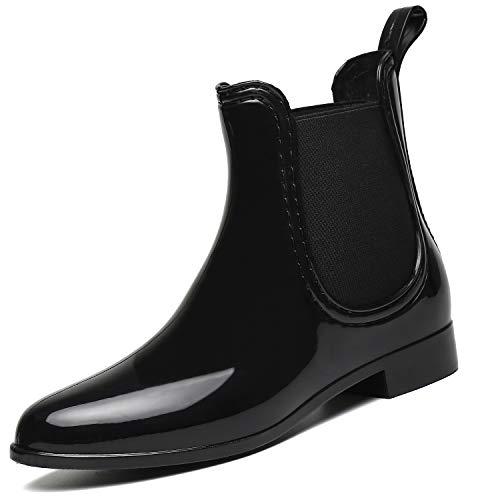 SAGUARO Botas de Lluvia Mujer Botas Goma Antideslizante Botas para Agua Moda Botines Chelsea Boots Planas Impermeable Rain Boot, Negro 40