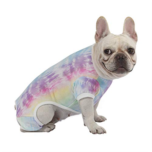 HDE Dog Pajamas Lightweight Dog PJs One Piece Jumpsuit Shirts for Dogs Cute Puppy Clothes for Small Medium Large Dogs (Rainbow Tie Dye, Large)