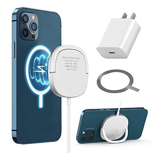 Wireless Charger Magnetic Wireless Charging Compatible with i Phone 12/12Mini/12Pro/12Pro max AirPods 2/Pro and All Phones with QI-Enable, with Ring Stand and USB-C Quick Charger Adapter