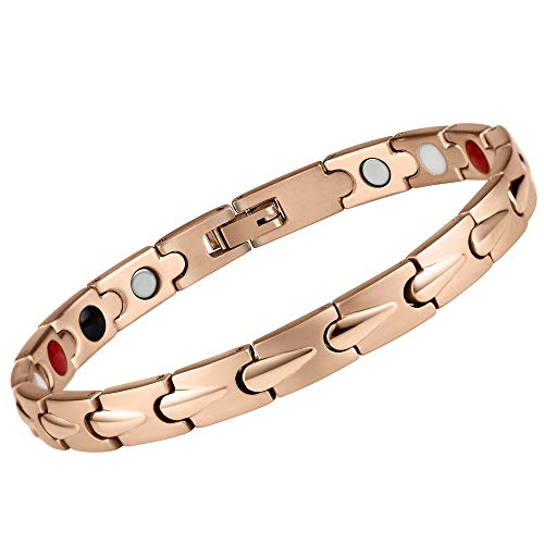 MASALING Magnetic Therapy Bracelet for Women Arthritis Pain Relief Menopause- 4 Element Full Magnet Single Row 3500 Gauss with Carpal Tunnel (Rose Gold)