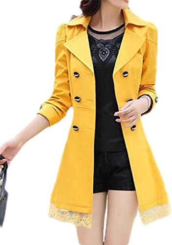 Biooarc Women's Slim Double Brested Lace Stitch Casual Trench Coat Jacket Overcoat
