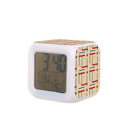 A Nod To Bauhaus Elektrischer Wecker, Nachtlicht, Schlaf-Timer, Ton, Maschine, Temperaturerkennung mit 7 Farben von Lichtern