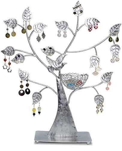 Portagioie a forma di albero - Argento 43 x 39 x 8 cm - Organizer per esporre orecchini e piccoli gioielli - Grinscard