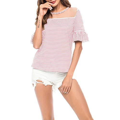 Camiseta Mujer Top Mujer Elegante Dulce Perspectiva Sexy Cuello Redondo Manga Corta Verano Cómodo Chic Trompeta Mangas Rayada Nueva Blusa Mujer E-Pink M