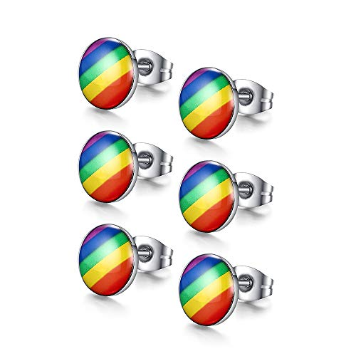 VNOX Jewelry 3 Pairs Stainless Steel Fashion Round Rainbow Ear Stud Earring for Gay & Lesbian Pride