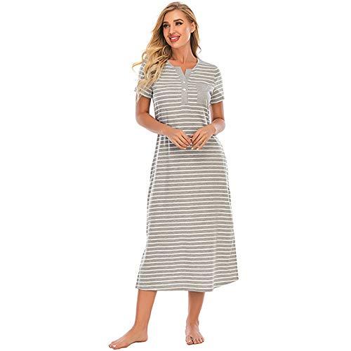 DyM Pijamas de mujer con botones a rayas primavera y verano nuevo y cómodo cuello redondo suelto de manga corta para el hogar