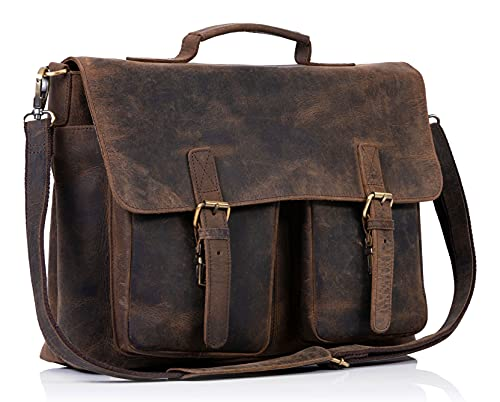 KomalC 18 Inch Leather briefcase Laptop Messenger Bags for Men and Women Best Office School College Satchel Bag