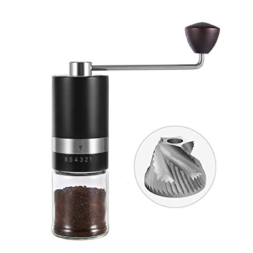 VEVOK CHEF Manual Coffee Grinder Burr Coffee Grinder (CNC Stainless Steel Burr) Grinder 6 Adjustable Setting Portable Hand Crank Coffee Bean Conical Mill for Espresso,French Press Coffee for Christmas Gift