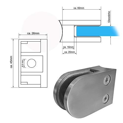 Edelstahl V2A Glashalter Glasklemme Klemmhalter f. Geländer rund / Ø42.4mm MASSIV, Modell:3177-42 rund-Ø42.4mm 8mm Glas