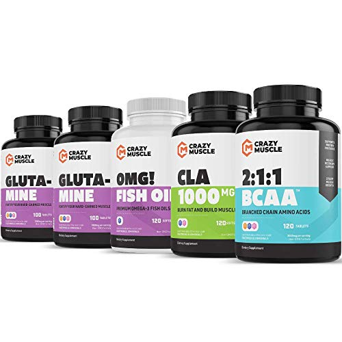 Lean & Toned Stack (5 Supplement Bundle) by Crazy Muscle: Supports Weight Loss & Muscle Building - Cutting Stacks & Bundles Can Be Used PreWorkout/Post Workout for Men and Women - 480 Pills Pack