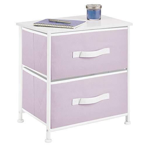 mDesign Mesita de noche con 2 cajones – Cómoda pequeña hecha de tela, metal y MDF – Decorativas cajoneras para armarios, para el dormitorio o el salón – lila/blanco