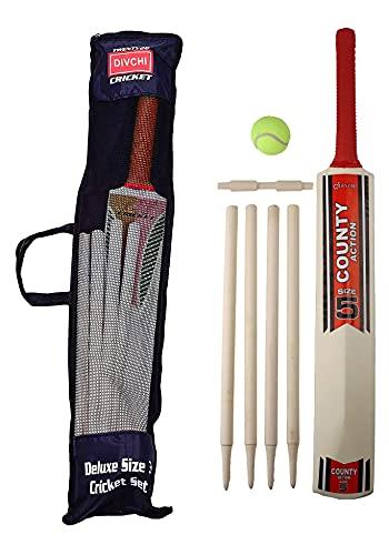 DIVCHI Cricket-Set in Netz-Tragetasche, erhältlich in Größe 5, geeignet für ca. 8–12 Jahre.