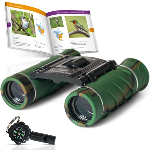 Aluminum Grade Binoculars for Kids with Book and Compass, Kids Binoculars with Clear Vision, Kids Explorer Kit with Whistle, Binoculars Kids for Both Boys and Girls Toddler Binoculars
