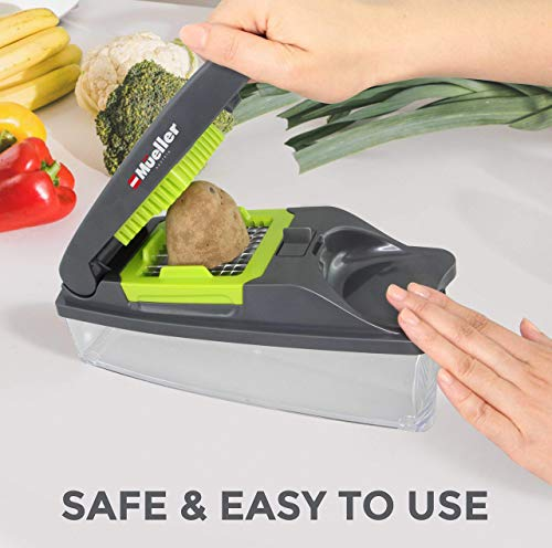 Mueller Vegetable Chopper – Heavy Duty Vegetable Slicer - Onion Chopper with Container - Pro Food Chopper - Grey Slicer…