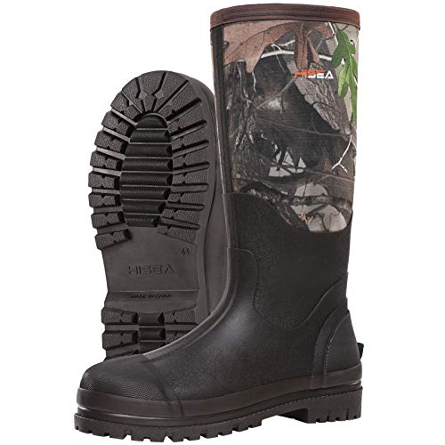 HISEA Men's Work Boots Neoprene Rubber Rain Boots Muck Mud Boots Insulated Outsole Camo