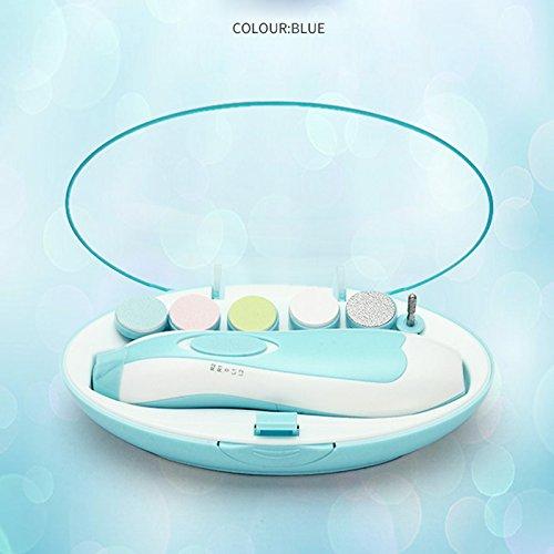 Cutogain Baby-Nagelfeile mit LED-Frontlicht für Neugeborene, Kleinkinder, Nageltrimmer-Kit blau