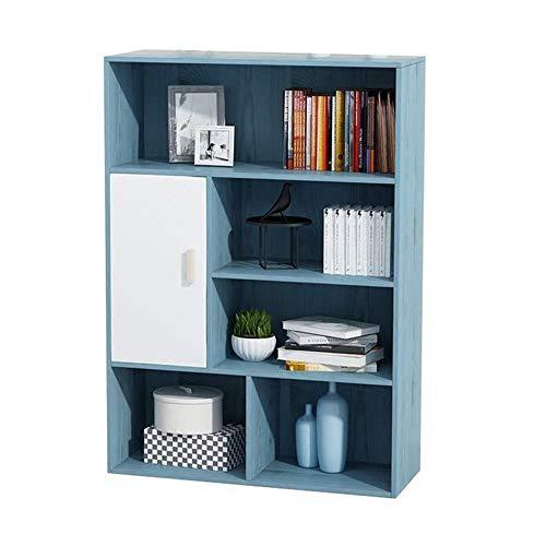 HXiaDyG Boekenkast, open kubuskast, staande kast, vitrinekast, blauw, wit, gemakkelijk te reinigen en vuilafstotend