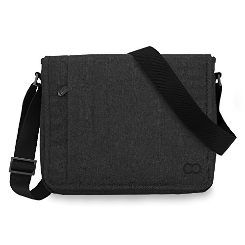 15 Inch MacBook Pro/Laptop Casecrown Canvas Horizontal - Campus Messenger Bag (Black Stealth)