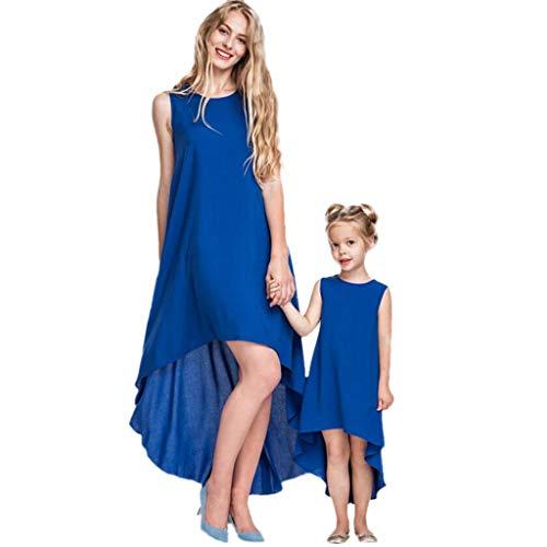 Mutter Tochter Kleid Sommer Rundhals Ärmelloses Einfarbiges Blau Unregelmäßig Saum Langes Kleid Mama Kind Baby Partnerlook Familien Kleidung Matching Outfit Mädchen Beiläufig Kleider