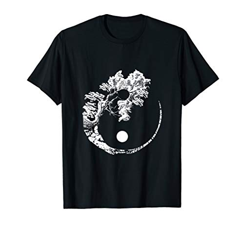 Bonsai Tree print Zen Spirit Yin Yang Japanese T-Shirt
