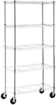 Amazon Basics 5-Shelf Shelving Storage Unit on 4   Wheel Casters Metal Organizer Wire Rack Chrome Silver  30  L x 14  W x 64.75  H