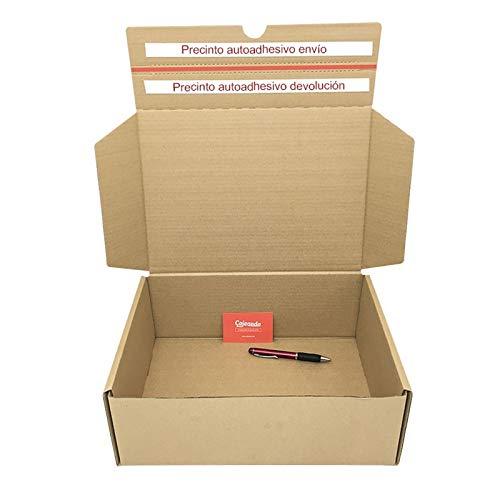 Cajeando | Pack de 10 Cajas de Cartón para Envíos (Caja Boomerang Doble Envío) | Tamaño 42 x 34 x 13 cm | Color Marrón | Permite Hacer Dos Envíos en Uno | Mudanzas | Fabricadas en España