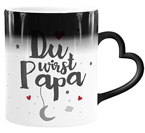 SpecialMe® Tasse Herz-Henkel Farbwechsel Effekt Du wirst Papa Geschenk Schwangerschaft verkünden Jungen weiß Magic-Herz-Tasse