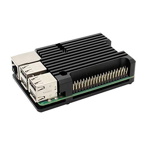 #N/V Carcasa de aluminio para Raspberry Pi 3B con doble ventilador de refrigeración carcasa de metal negro para RPI Raspberry Pi 3B