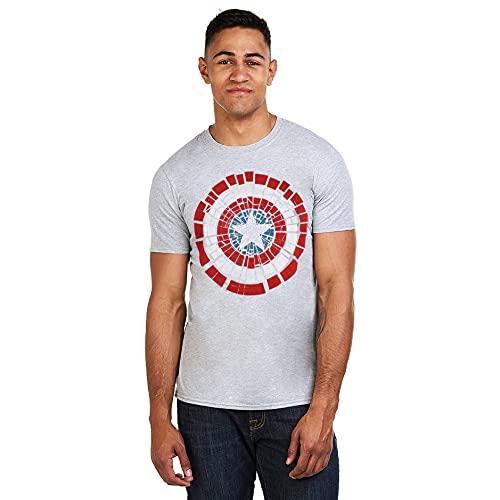Marvel Capatain America Shield Shattered Camiseta, Gris (Grey Marl SPO), Small (Talla del Fabricante: Small) para Hombre