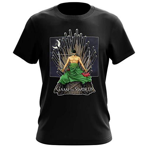 Maglietta Nera da Uomo Parodia One Piece - Il Trono di Spade - Roronoa Zoro X Eddard Stark - (T-Shirt di qualità Premium in Taglia XL - Stampata in Francia - RIF : 776)