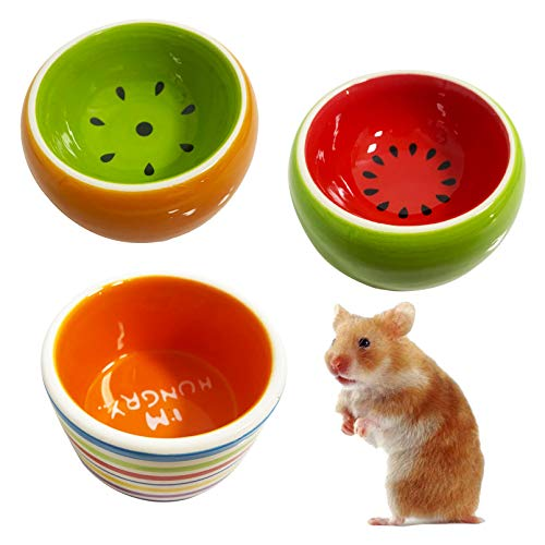 kathson Hamster Bowl Ceramic Small Animal Water Bowl Prevent Tipping Moving and Chewing Food Dish for Guinea Pig Gerbil Ferret Syrian Hamster Chinchilla Rat...