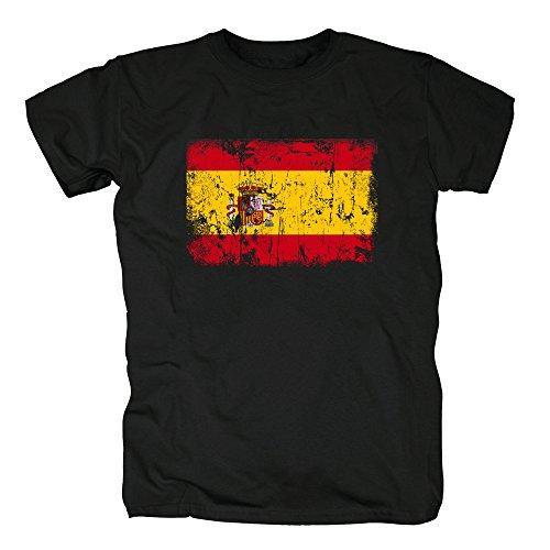 TShirt-People España Vintage Bandera Camiseta para Hombre M Negro