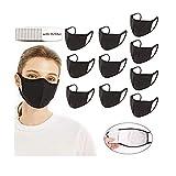 QUYYEI 10er Pack Mund und Nasenschutz Schwarz Mundschutz Waschbar Baumwolle Protect Stoffschlauch Einstellbar Wiederverwendbar mit 16 Filtern Mundabdeckungen Gesichtsschal