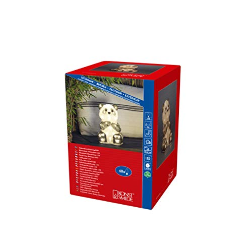 Konstsmide, 6284-103, LED Acryl Pandabär, klar,24V_Außentrafo, 40 warm weiße Dioden, weißes Kabel