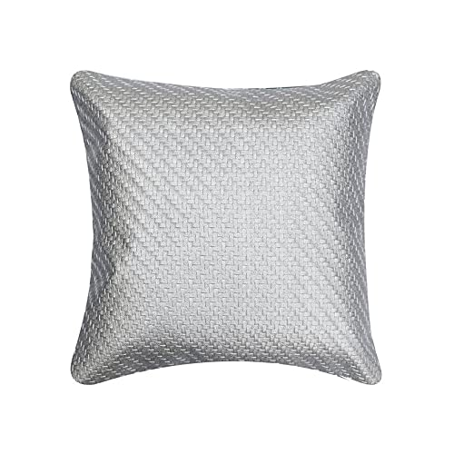 Decorativo Plata Cojinpara Silla, 60x60 cm (24'x24') Cuero de imitación Cojin, Funda de Cojín con Tejido de Cesta con Textura, Color Solido Cojin, Moderno Cojinpara Silla - Weaved Silver