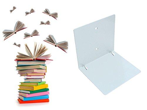 Wenzl Onlinemarketing Schwebende Bücher: unsichtbares Regal für Bücher, originelle Bücherstütze mit bis zu 10kg Tragkraft, stapelbarer Buchhalter