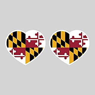 Two Pack Maryland Heart Sticker FA Graphix Vinyl Decal MD Love Hearts Pride Native