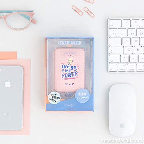 Mr. Wonderful Bateria Externa portatil para movil, Power Bank 5.000 mAh, Ole