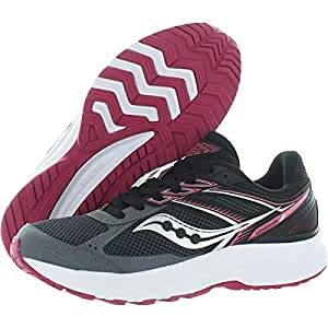 Saucony Women's Cohesion 14 Road Running Shoe, Charcoal/Coral, 7