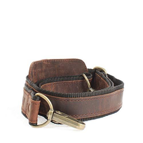 LECONI Trageriemen Leder Nylon Schulterriemen breiter Schultergurt für Taschen Umhängegurt längenverstellbar 4x150cm schlamm LEC-R2