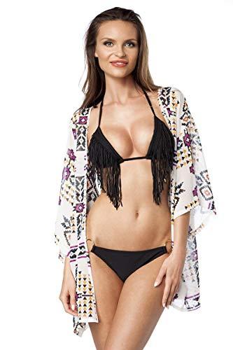 Kimono jasje patroon Boho korte mouwen 7/8 mouwen bovendeel wit zomerimono