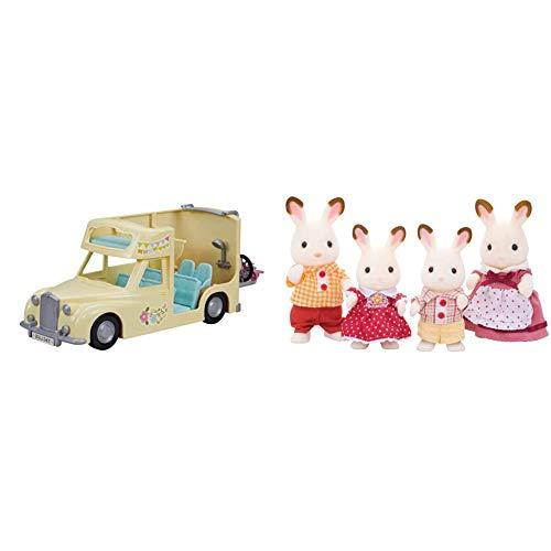 シルバニアファミリー みんなでおとまりキャンピングカー & シルバニアファミリー 人形 ショコラウサギファミリー FS-16【セット買い】