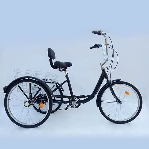 Triciclo para adultos de 24 pulgadas, 3 ruedas, 6 marchas, b