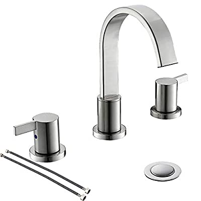 Brushed Nickel Waterfall 2-Handle 3-HoleWidespread Bathroom Faucet with Pop-up Drain and Valve by PHIESTINA, WF40-1-BN