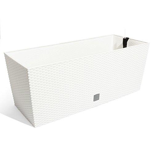 Prosperplast Jardinera Mod Rato J 800 C/Autorriego, Blanco, 80 cm