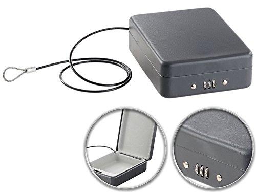 Xcase Reisetresor: Mini-Stahl-Safe für Reise & Auto, Zahlenschloss, Sicherungskabel, 1 l (Reisesafe)