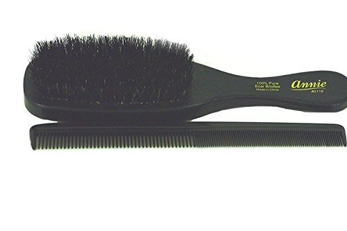 Wave Hair Brush SOFT 100% pure boar bristles with FREE comb by Annie